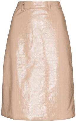 Dodo Bar Or Crocodile-Embossed Pencil Skirt