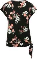 M&Co Floral print tie hem top