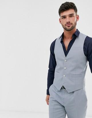 Gianni Feraud Wedding Slim Fit Plain Linen Suit vest-Blue