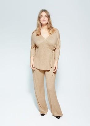 MANGO Violeta BY Knit pants medium brown - S - Plus sizes