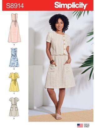 Simplicity Women's Asymmetric Front Dress Sewing Pattern, 8914