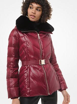 MICHAEL Michael Kors MK Faux Fur-Trim Chevron-Quilted Belted Jacket - Dark Brandy - Michael Kors