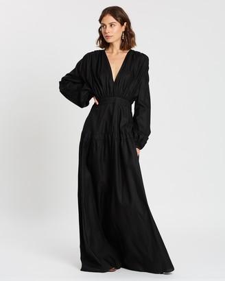 Matin Full Length Gathered V Dress