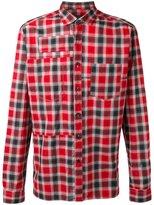 Lanvin topstitched patchwork checked shirt - men - Cotton - 39