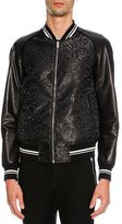 Alexander McQueen Leopard-Print Jacquard Varsity Jacket with Leather Sleeves, Metallic Black