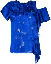 Diane von Furstenberg cut-out ruffle blouse