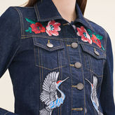 Maje Denim jacket with embroidered crests