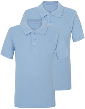 George Light Blue Slim Fit School Polo Shirt 2 Pack