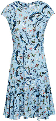 Erdem Darlina Fluted Floral-print Ponte Mini Dress
