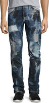 PRPS Pixel Distressed Patchwork Jeans, Dark Indigo