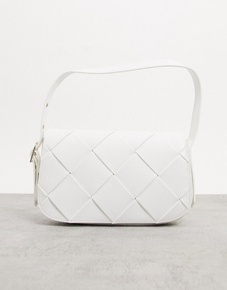 Who What Wear Harper weave detail shoulder bag in white