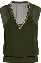 Bailey 44 Hear That Beat embellished silk and stretch-jersey top