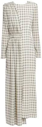 Givenchy Asymmetric Silk Plaid Midi Dress