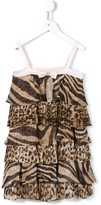 Roberto Cavalli ruffle animal print dress