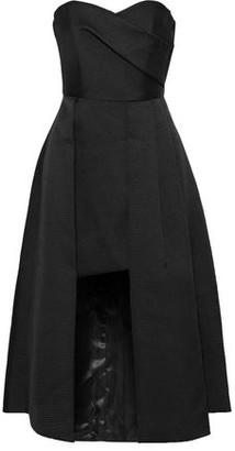 Black Halo Eve By Laurel Berman Caine Strapless Layered Pleated Satin-crepe Midi Dress