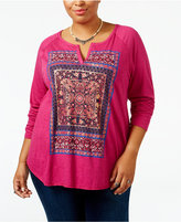 Lucky Brand Trendy Plus Size Tapestry Graphic T-Shirt