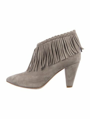 Anine Bing Suede Fringe Trim Accent Boots Grey