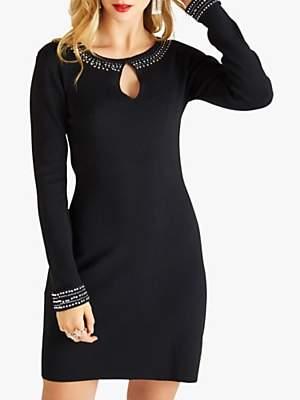 Yumi Embellished Knit Tunic Dress, Black