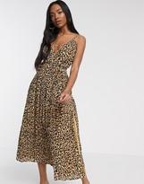 Asos Design DESIGN tie wrap around crinkle maxi dress in animal print