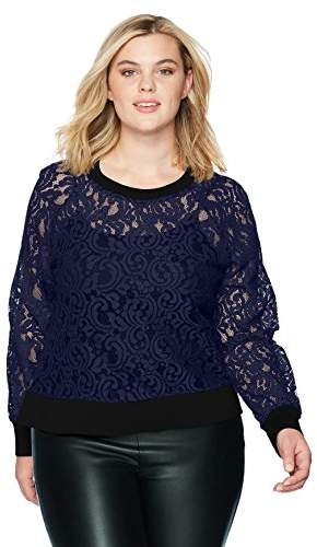 Rebel X Angels Women`s Plus Size Lace Sweatshirt