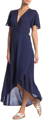 BOHO ME Solid Wrap Maxi Cover-Up Dress