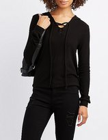 Charlotte Russe Lace-Up Pullover Hoodie