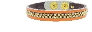 Presh Orange Leather Bracelet - Gold Beading