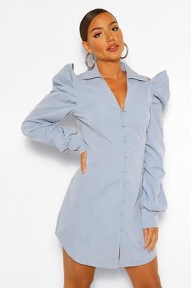 boohoo Cold Shoulder Ruched Sleeve Shirt Dress