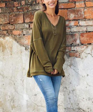 Luukse Women's Tunics 101OLIVE - Olive Drop-Shoulder V-Neck Tunic - Women