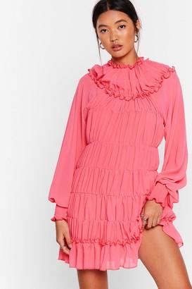 Nasty Gal Womens Tier She Comes Chiffon Mini Dress - Pink - 4, Pink