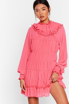 Nasty Gal Womens Tier She Comes Chiffon Mini Dress - Pink