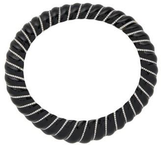 Saint Laurent Crystal Embellished Collar Necklace - Womens - Black