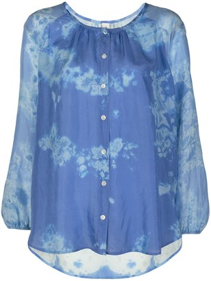 Raquel Allegra Silk Abstract Print Blouse