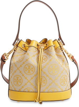 Tory Burch T Monogram Jacquard & Leather Bucket Bag