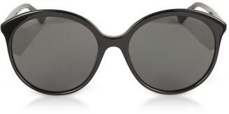 Gucci GG0257S Specialized Fit Round-frame Black Acetate Sunglasses
