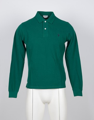 U.S. Polo Assn. Long-Sleeved Deep Green Cotton Men's Polo Shirt