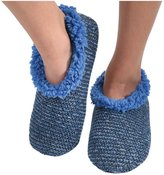 Snoozies Womens Textured Tweed Knit Sherpa Lined Slipper Socks