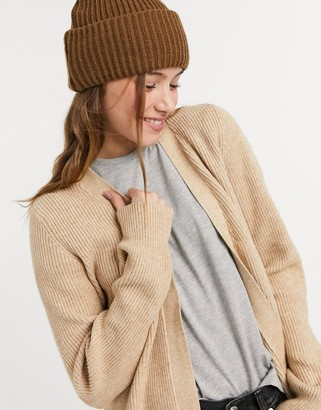 Vila cardigan with balloon sleeves in beige