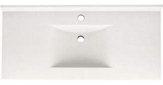 "Swan Contour Solid Surface 43"" Single Bathroom Vanity Top Top Finish: Tahiti Ivory"