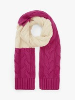 John Lewis & Partners Chunky Cable Colour Block Scarf, Cream Mix