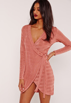 Missguided Knot Side Slinky Dress Pink