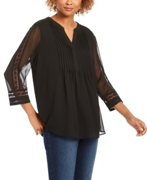 Charter Club Solid Knit Pintuck Top, Created for Macy's