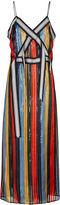 Marco De Vincenzo Multi Vertical Stripe Crossover Dress