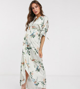 Hope & Ivy Maternity kimono maxi dress in swallow floral print