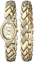 Swarovski Armitron Women's 75/3901CHGPST Crystal Accented Gold-Tone Bracelet and Watch Set