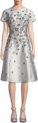 Rickie Freeman For Teri Jon Short-Sleeve 3D Floral-Embroidered Jacquard A-Line Dress