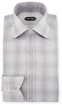 Tom Ford Slim-Fit Twill Plaid Bicolor Dress Shirt, Gray