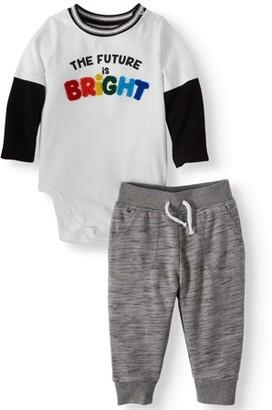 Garanimals Baby Boy Long Sleeve Graphic Bodysuit & Joggers, 2pc Outfit Set
