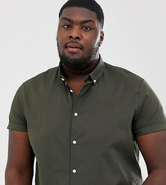 Asos Design DESIGN Plus regular short sleeve shirt with button down collar in khaki-Green