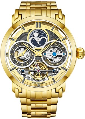 Stuhrling Original Men's Luciano Skeleton Goldtone Watchw/ Link Strap